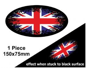 Fade To Black OVAL Design & Union Jack British Flag Vinyl Car sticker decal 150x75mm